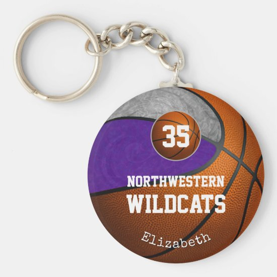 purple gray school team colors girls' basketball keychain