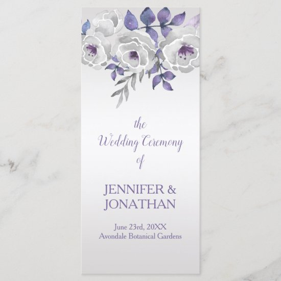Purple Gray Silver Floral Wedding Program