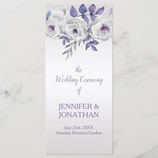Purple Gray Silver Floral Wedding Program