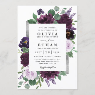 Purple Gray Silver Watercolor Peony Fall Wedding Invitation