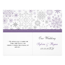 purple gray snowflake bi fold Wedding program