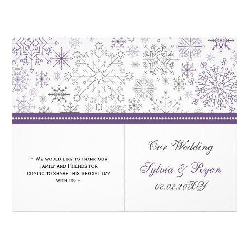 purple gray snowflake bi fold Wedding program Flyers