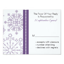 purple gray snowflake elegant winter wedding rsvp card