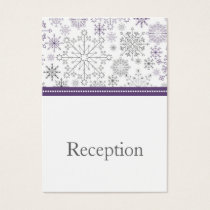 purple gray snowflake mod  winter Reception Cards