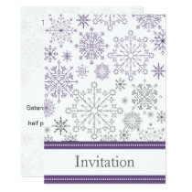 purple gray snowflake mod winter wedding invites