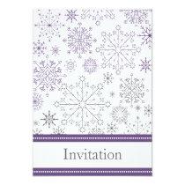 purple gray snowflake mod winter wedding invites