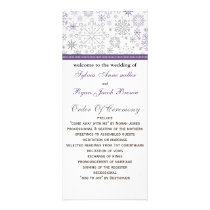 purple gray snowflake mod winter Wedding program