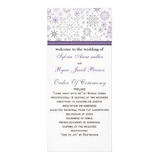 purple gray snowflake mod winter Wedding program