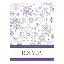 purple gray snowflake mod winter wedding rsvp postcard