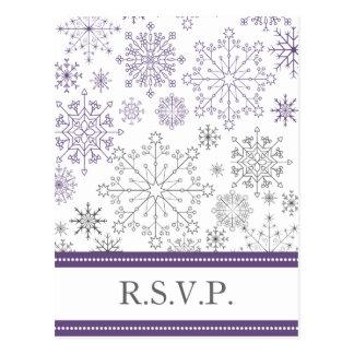 purple gray snowflake mod winter wedding rsvp postcard