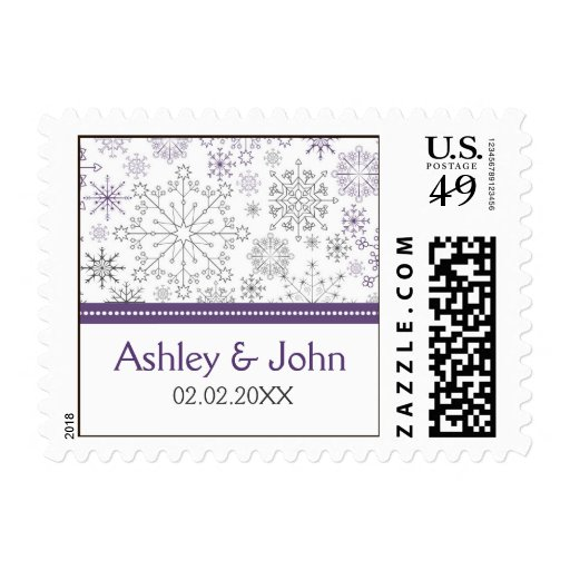 purple gray snowflake mod  winter wedding stamps