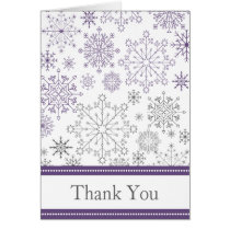 purple gray snowflake mod winter wedding Thank You Card