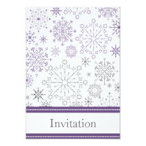 purple gray snowflake winter wedding invites