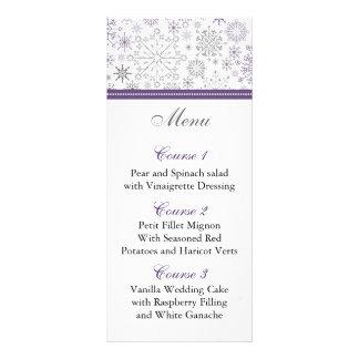 purple gray snowflake winter wedding menu cards