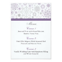 purple gray snowflake winter wedding menu cards
