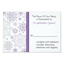 purple gray snowflake winter wedding rsvp 3.5 x 5 card
