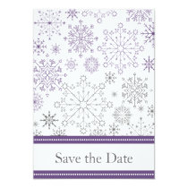 purple gray snowflake winter wedding save the date card