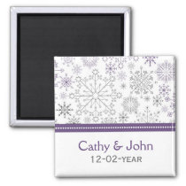 purple gray snowflake winter wedding save the date magnet
