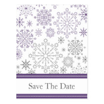 purple gray snowflake winter wedding save the date postcard