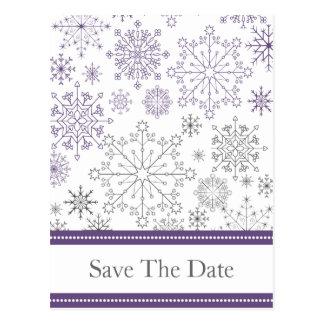 purple gray snowflake winter wedding save the date postcard