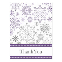 purple gray snowflake   winter wedding Thank You Postcard