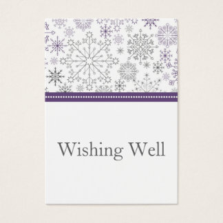 purple gray snowflake winter wishing well cards