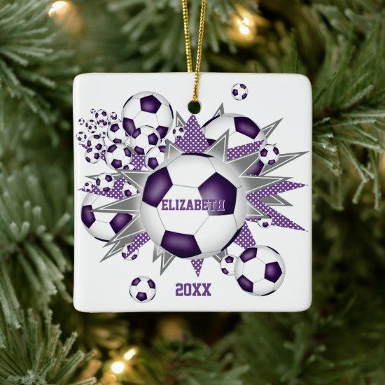 purple gray soccer ball blowout girls sports ceramic ornament