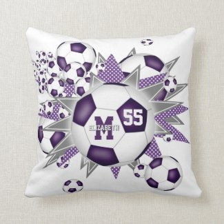 purple gray soccer ball blowout girly sports room throw pillow