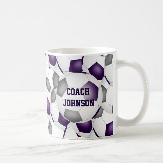purple gray soccer school team colors coach gift coffee mug