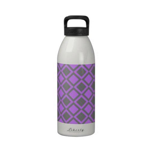 purple gray squares or diamonds drinking bottle