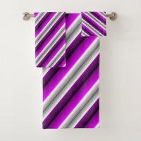 Purple Gray Stripe Bath Towel Set