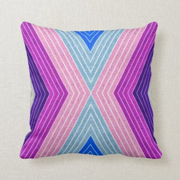 Beach Themed Purple & Gray Striped Accent Throw Pillow