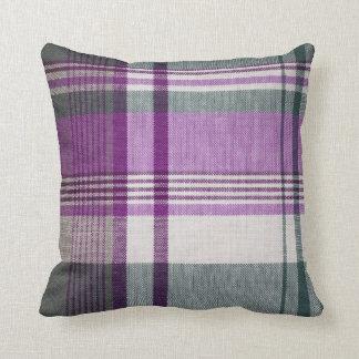 Purple Gray Tartan Plaid Pillow