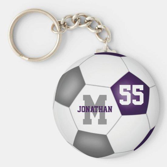 purple gray team colors boys girls soccer ball keychain