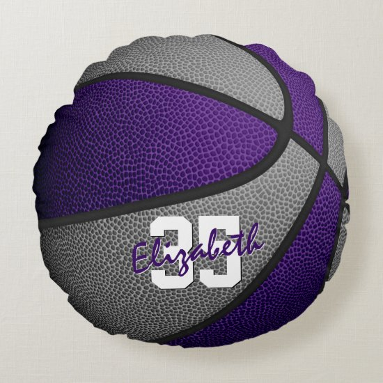 purple gray team colors girls boys basketball round pillow