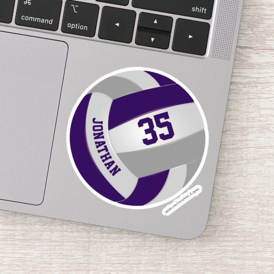 purple gray team colors girls boys volleyball sticker