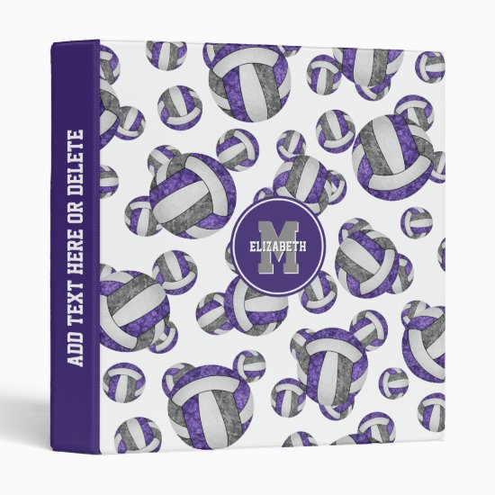 purple gray team colors girls volleyball pattern 3 ring binder
