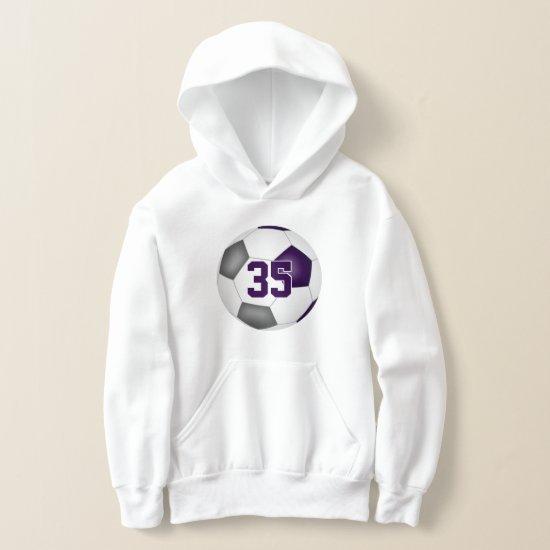 purple gray team colors jersey number soccer hoodie