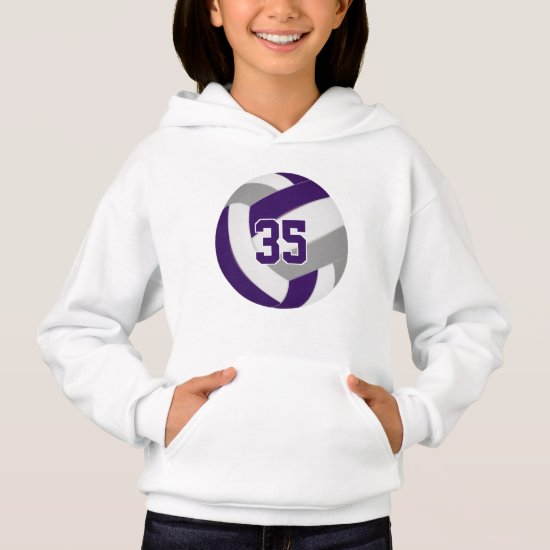 purple gray team colors jersey number volleyball hoodie