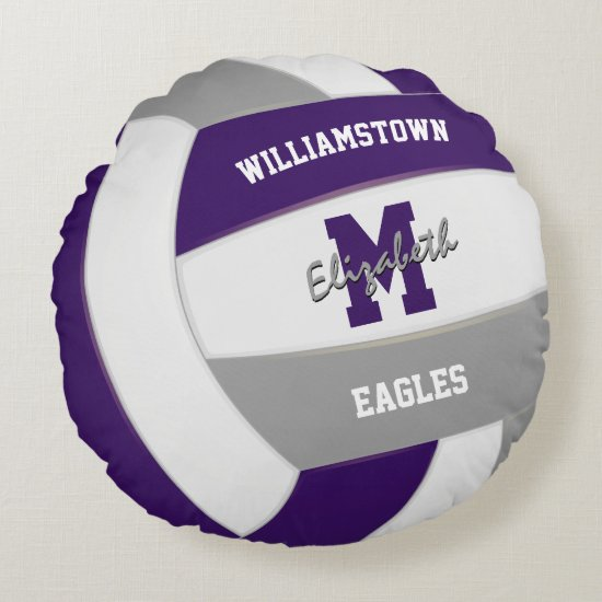 purple gray team colors kids volleyball round pillow