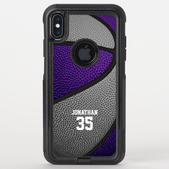 purple gray team colors personalized basketball OtterBox commuter iPhone XS max case