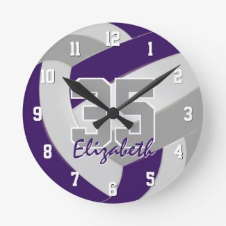 purple gray team colors players name volleyball round clock