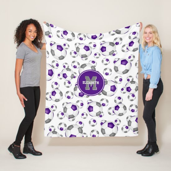 purple gray team colors soccer balls pattern fleece blanket
