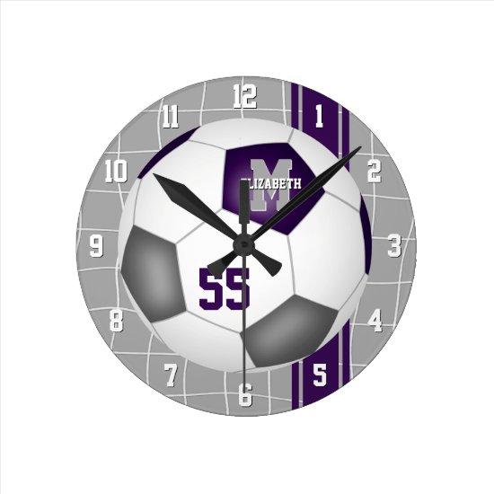 purple gray team colors varsity stripes soccer round clock