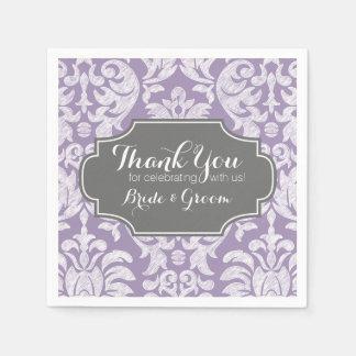 Purple Gray Vintage Damask Wedding Thank you Paper Napkin