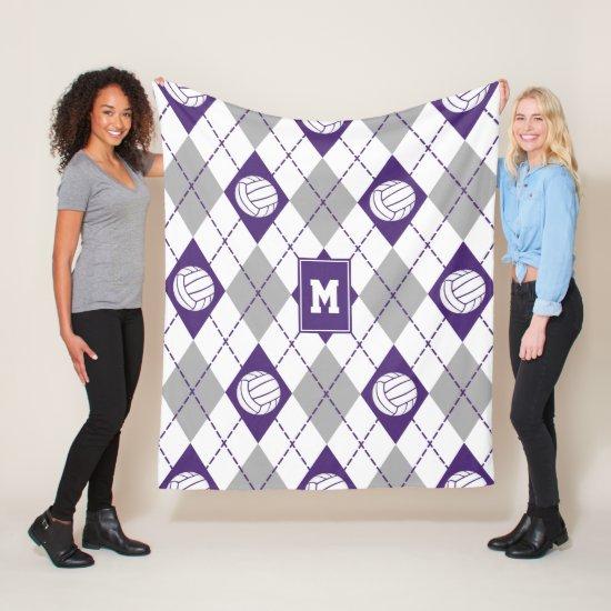 purple gray volleyball team colors argyle pattern fleece blanket