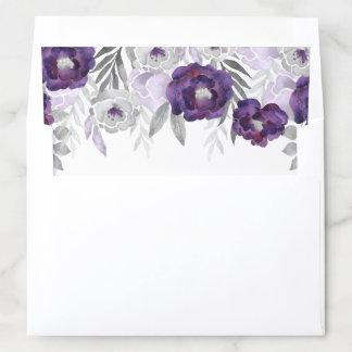 Purple Gray Watercolor Flowers Envelope Liner
