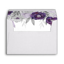 Purple Gray Watercolor Flowers Return Address A7 Envelope