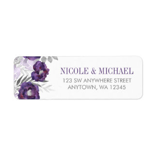 Purple Gray Watercolor Flowers Return Address Label