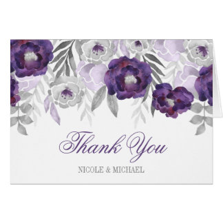 Purple Gray Watercolor Flowers Thank You Card